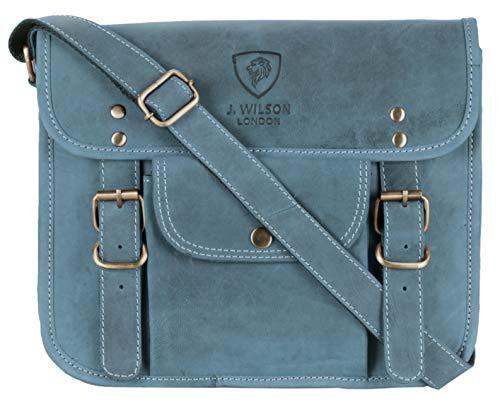 J. Wilson London ,  Herren Umhängetasche Gr. 85, Distressed Blue (Distressed Leder Bag Messenger)
