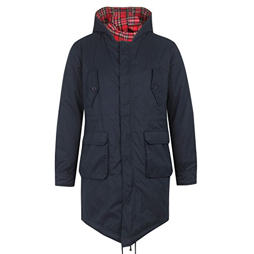 Merc London Parka Fishtail avec capuche Tobias - Bleu Marine - Large