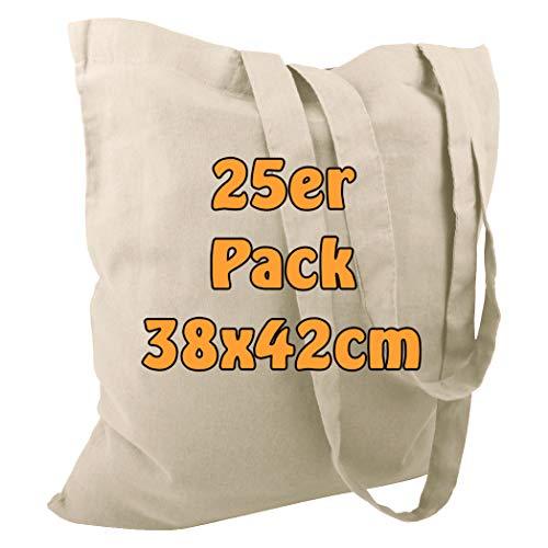 485783a55 Bolsas de algodón, de yute, con dos asas largas, color natural, 38 x 42 cm,  25 unidades