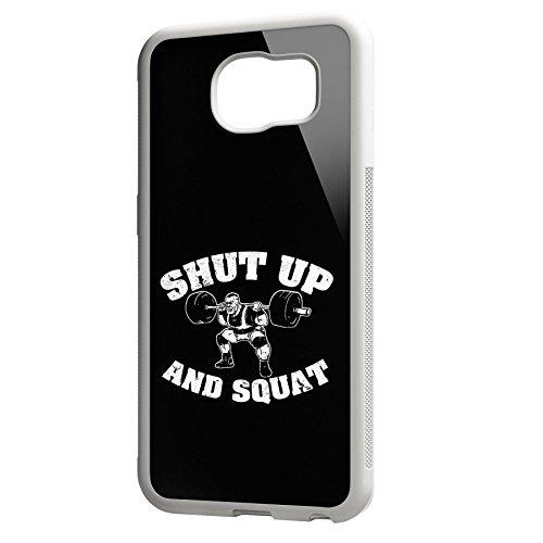 Smartcover Case Shut up an Squat z.B. für Iphone 5 / 5S, Iphone 6 / 6S, Samsung S6 und S6 EDGE mit griffigem Gummirand und coolem Print, Smartphone Hülle:Iphone 6 / 6S schwarz Samsung S6 EDGE weiss