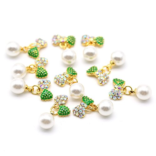 Five Season 10 pcsBling Decoration Perles Bijou Cristal Accessoire Alliage Nail Art Manucure Forme Noeud Papillon, 1.8*1cm, Or*Vert*Blanc