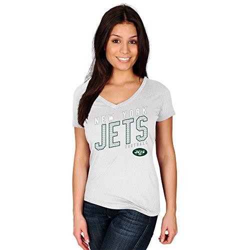 NFL New York Jets Erwachsene Frauen NFL plusjets S/Baumwolle V-Ausschnitt Tee, 3X, Weiß (V-ausschnitt Tee Football Baumwolle)