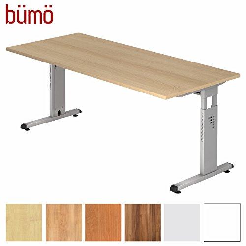Preisvergleich Produktbild BÜMÖ Stabiler Schreibtisch Höhenverstellbar 180 x 80 cm / Bürotisch in Eiche / Büroschreibtisch mit Höheneinstellung / Tisch für Büro in 9 Größen & 7 Dekoren