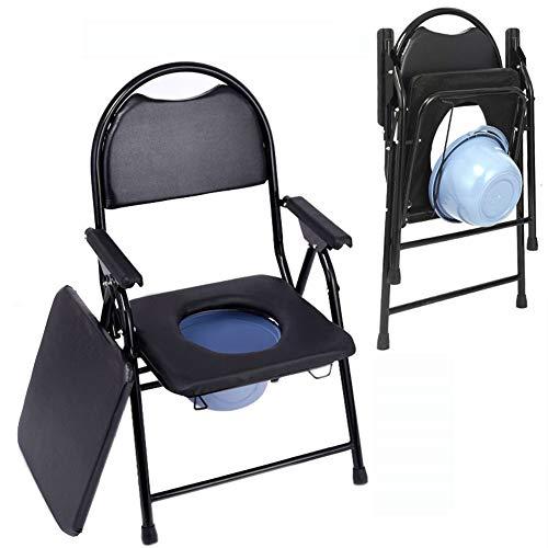 GEER Faltbarer Hygienischer Toilettenstuhl, Toilettenstuhl Toilettenhilfen, Toilettenstuhl fahrbar, bis 150 kg, für Erwachsene Handicap Senioren mit Deckel, schwarz