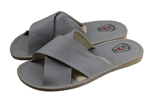 Natleat Slippers Mens Slippers 127 - Zapatillas de estar por casa de Piel para hombre multicolor multicolor, color negro, talla 48 EU
