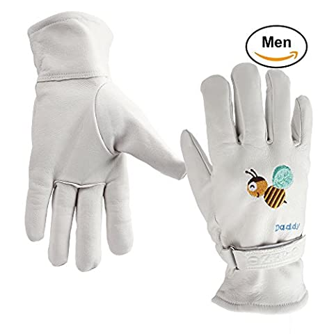 OZERO Garden Gloves - Leather Working Gloves with Colourful Embroidery - Puncture Resistant & Durable for Gardening/Household - Breathable Mesh Fabric Lining, Good Fit for Man/Women/Kids (White, M)