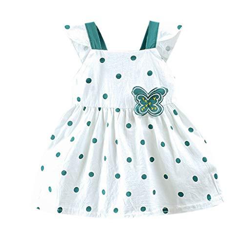 squarex Sommer Kleinkind Kind Baby Mädchen ärmellose Sling Dot gedruckt Schmetterling Bogen Party Prinzessin Kleid Kleidung bequem lässig (Bogen-krawatte Hosenträger Grünen Und)