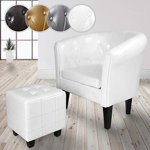 MIADOMODO Chesterfield Sessel und Hocker   aus Kunstleder und Holz, mit Rautenmuster, verfügbar   Lounge Sessel und Sitzhocker Set, Clubsessel, Armsessel, Wohnzimmer Möbel (Weiß)