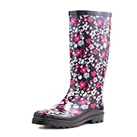 Wellygogs Womens Black Floral Wellington Boot