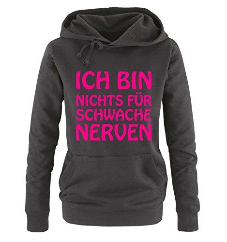 Comedy Shirts - Ich bin nichts für schwache Nerven - Damen Hoodie - Schwarz/Pink Gr. XL
