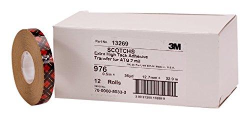 3M 976 ATG Klebstoff-Film, hohe Klebekraft, für Kunststoffe wie PE, PP, 19 mm x 25 m, Transparent (48-er Pack)