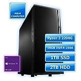 M&M Computer Professional Silent PC AMD, AMD Ryzen 3 2200G CPU Quad-Core, 16GB DDR4-RAM 2666MHz, 1TB SSD Festplatte, 2000GB HDD, Marken-PC-Gehäuse gedämmt, Windows 10 Pro, Bussiness und Home-Office