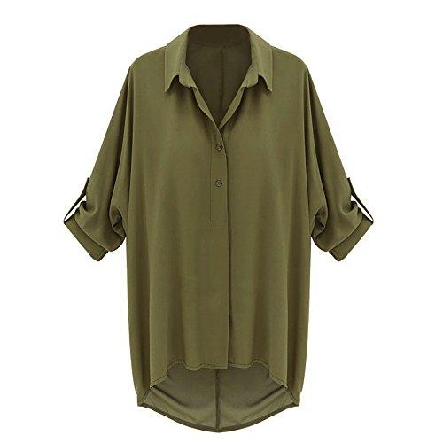 Isassy, top da donna in chiffon, camicia, maglia comoda, camicetta, maglietta con maniche a pipistrello Green