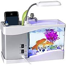 Surenhap - Acuario Multifuncional Recargable por USB, Escritorio electrónico LCD, Pantalla de Reloj,