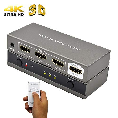 AMANKA HDMI Switch HD Verteiler 3D 4K HDMI Umschalter manuelle IR Fernbedienung Umschaltung 3 IN 1 Out für TV Stick, DVD, HDTV, PS4 usw -