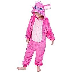 "Dolamen Niños Unisexo Onesies Kigurumi Pijamas, Niña Traje Disfraz Animal Pyjamas, Ropa de dormir Halloween Cosplay Navidad Animales de Vestuario (120-130CM (47 ""-51""), PinkStitch)"