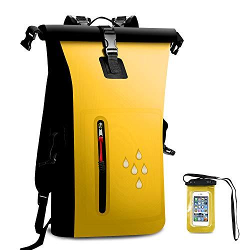 SCHITEC Wasserdichter Dry Bags Rucksack, 25L Heavy Duty Roll-Top-Verschluss Reiserucksack mit IPX8 Waterproof Handy-Hülle für Bootfahren, Strand, Kajak, Skifahren, Angeln, Camping, Schwimmen (Gelb)