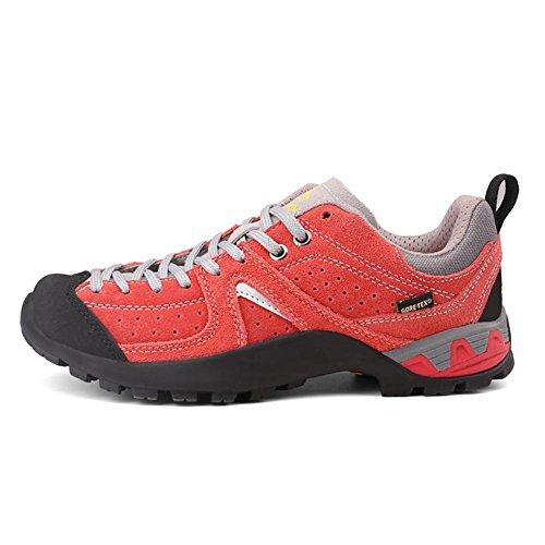 Frauen Freizeit Sport Wasserdichte Wanderschuhe Echtes Leder Wandern Stiefel Trekking Schuhe Sneakers weiblich wear-resistent Klettern Wandern Stiefel weiblich , orange , 40 (Leder Frauen Stiefel)