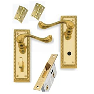Georgian Brass Lever Bathroom Door Handles + 64mm Bathroom Lock + 3