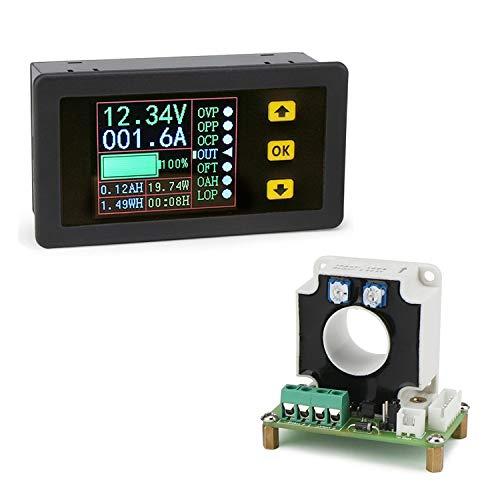 CPTDCL Digitales DC-Multimeter, 0-90 V, 100 A, Voltmeter, Amperemeter, 12 V, 24 V, 30 V, 48 V, 60 V, 80 V, Spannung Volt, Strom, Watt, Kapazität, Zeitmesser, LCD-Halle-Sensor, Batterietester