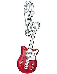 Rafaela Donata Charm Collection Damen-Charm Gitarre 925 Sterling Silber Emaille rot  60600280