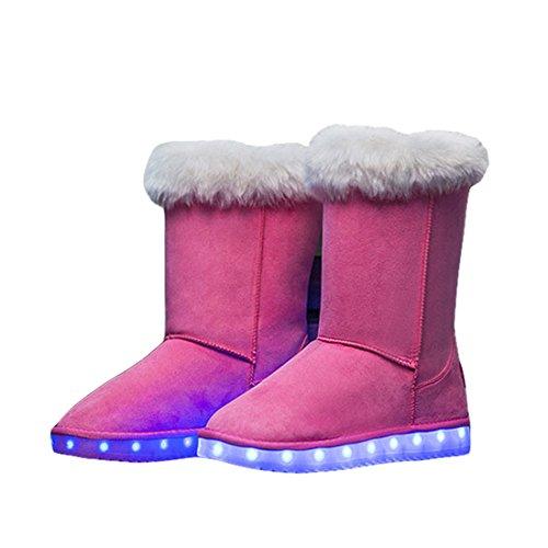 O&N LED Schuh Bunte Winterstiefel schneestiefel USB Aufladen 7 Farbe Leuchtend Schneeschuhe Winter Schuhe mit Warm Futter für Unisex-Erwachsene Damen Mädchen