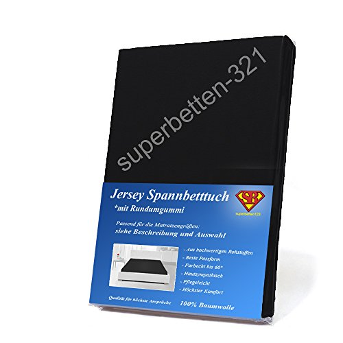 Jersey Spannbettlaken schwarz 100% Baumwolle 90 cm x 200 cm bis 100 cm x 200 cm 135GSM