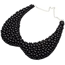 Vococal - Collar Cadena de Cuentas Redondas / Camiseta Falso Desmontable Cuello Falso Negro para Mujer