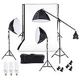 Andoer Softbox fotografia Illuminazione Studio Foto Supporto Kit, include Softbox Octagon 60cm, Set di Supporto per Sfondo, Light Stand 200cm, Lampadine 45W, Sfondo Nero Bianco, Borsa da Trasporto