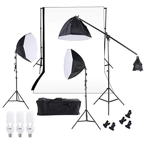 Andoer? Studiobeleuchtung Softbox Photolicht Muslin Hintergrund Stand Kit mit drei 60cm Octagon Softbox + Cantilever Light Stand + 5W LED Leuchtmittel + Wei? Schwarz Kulisse + Tragetasche -
