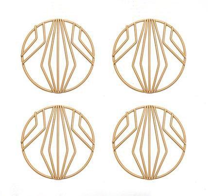 hihouse Untersetzer Set Kaffeebecher Fashion Design Mats Pad Tisch-Sets Tee Bier Wein Tasse Glas Flaschenhalter Metall Drink Untersetzer Gold 4 - Metall-untersetzer-set