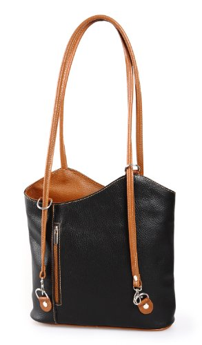 IO.IO.MIO Leder Rucksack oder Schultertasche für Damen freie Farbwahl rosa metallic schwarz-cognac