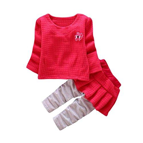 Longra Kleinkind Kinder Baby Mädchen Herbst-Winter Outfits Kleidung Plaid Blumen T-Shirt Tops + Hosen Rock Prinzessin Babymode Kleider Set(0-36Monate) (100CM 24Monate, Hot (Kostüme Stück 2 Plaid)