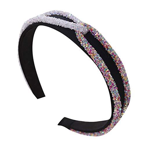 Kind Kostüm Flapper Sequin - COZOCO Damen New Crystal Pailletten Stirnband Kristall Doppelkreuz Haken Haarband breite Seite Headwear(h)