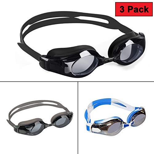 Bezzee-Pro 3 Pack Schwimmbrille - Schutzbrillen mit Verstellbaren Silikonriemen, 3 Paar Ohrstöpsel und 9 Nasenstege - Anti-Fog-UV-Schutz Triathlon Schwimmbrille mit Schutzetui für Männer, Frauen