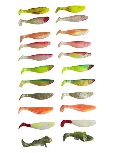 SANDAFishing Zander Barsch Forelle Gummifisch Set - Gummiköder 11cm Köder Box Relax Kopyto Angel Zubehör Jigkopf Haken Kunstköder Twister Angelset Geschenk für Angler (Zander Set 11cm) -