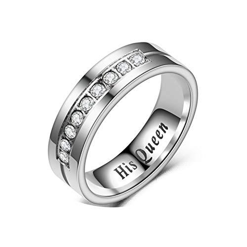 AmDxD Edelstahl Paar Ringe, 1 Pcs Ringe Gravur His Queen mit Weiß Zirkonia Verlobungsringe Partnerringe - His Queen Gr.49 (15.6)