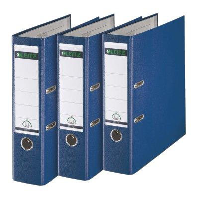 Leitz 310335035 Qualitäts-Ordner Plastik-Cover (A4, 8 cm Rückenbreite, 3er-Pack) blau