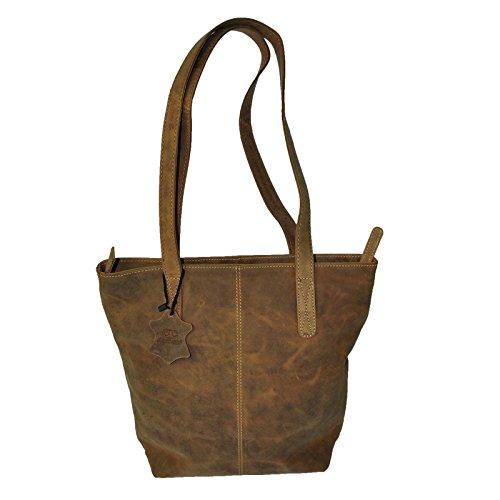 Echt Leder Shopper Tasche Handtasche 5 Farben Vintage Schultertasche Neu - MU202 Tan-CH-Vintage
