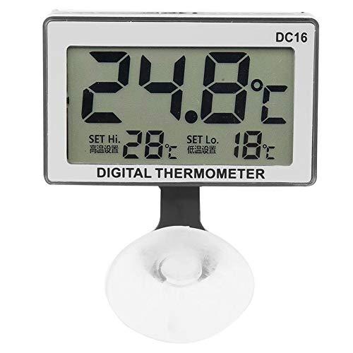 Digital Thermometer, Aquarium Thermometer mit Großem LCD-Bildschirm und Saugnapf Wasserdicht Temperaturbereich 0 ℃ -37 ℃ für Fischbecken usw -