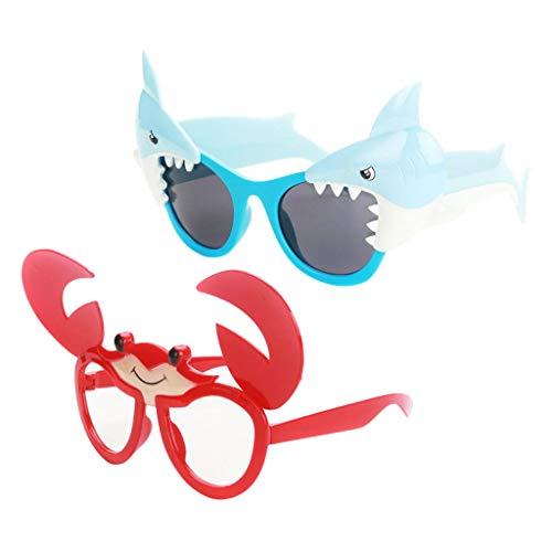 Hellery 2pcs Neuheit Spaßbrillen Strand Brillen Foto Requisiten für Karneval, Party, Kostüm-Accessoire ( Hai/Krabbe )