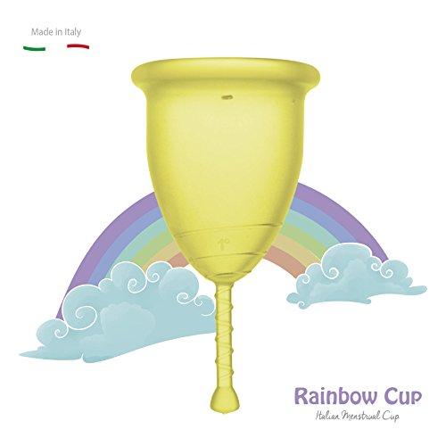 RAINBOWCUP Das Neue und Schöne Menstruationstasse MADE IN ITALY , wählen Sie Größe & Farbe! (Größe 1, Sonnenstrahl)