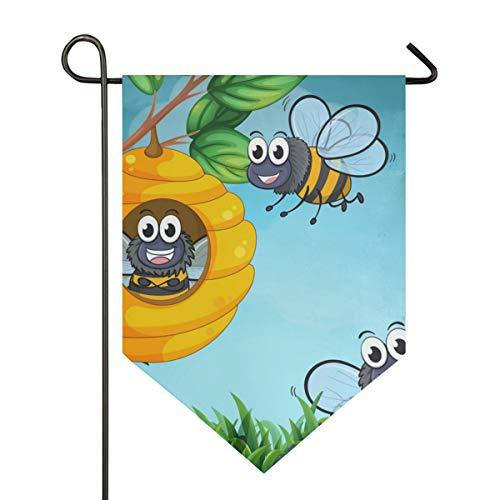 AMONKA Gartenflagge Bienen und Bienenstock doppelseitig Polyester Hofflagge für Haus Haus Outdoor Dekoration 30,5 x 45,7 cm, Polyester, Multi, 28x40 Inch