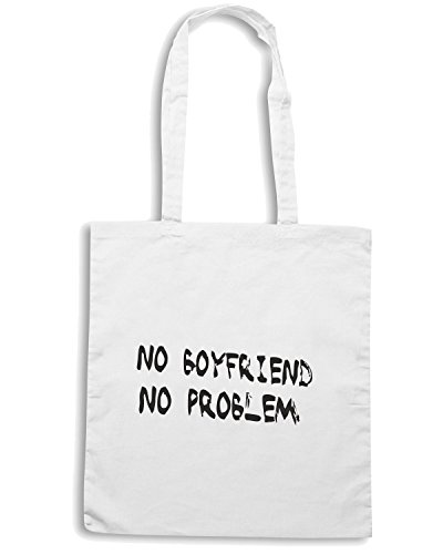 T-Shirtshock - Borsa Shopping TDM00186 no boyfriend no problem 2 Bianco