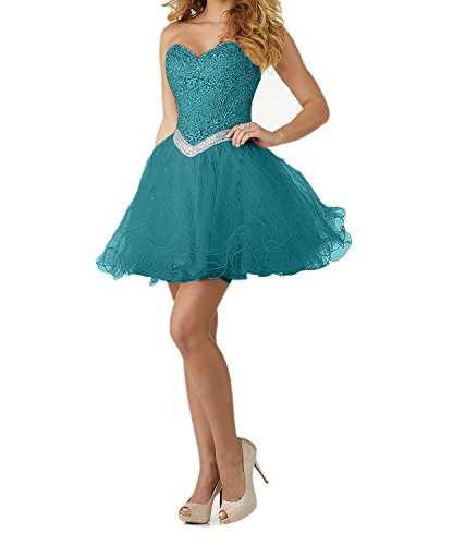 Charmant Damen Schwarz Kleid Standesamt Cocktailkleider Knielang Abendkleider Kurz Elegant Kleid Spitze Tuerkis