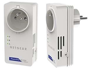 Netgear XAVB5601 Pack de 2 Adaptateurs CPL 500 Mégas Gigabit Prise Femelle, 2 Ports Gigabit.Compatible Box Internet, Périphériques et CPL Homeplug AV