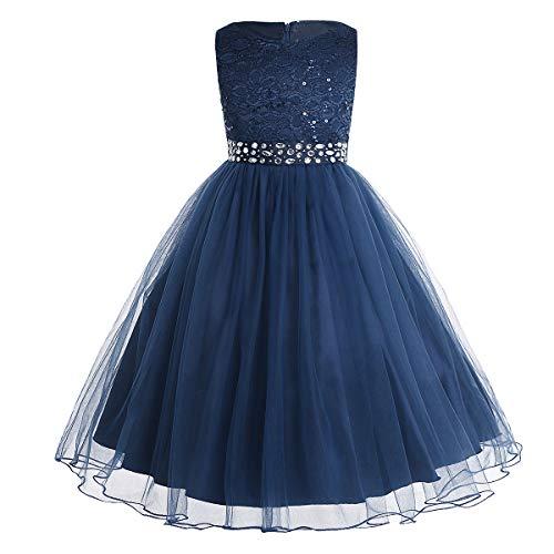 hen Kleid festlich Lange Brautjungfern Kleider Hochzeit Blumenmädchenkleid Prinzessin Party Kleid Tüll Festzug Marineblau 128 ()