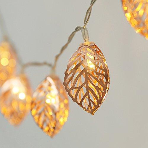 Metall Lichterkette,SUAVER Rosé Gold Metall Laternen Lichterkette Geometrische Lichter, batteriebetrieben Dekorative Innenlichter für Feiertags-Weihnachtshochzeitsfest-Inneneinrichtung (Blatt) -