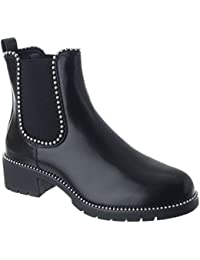 Miss Image UK Femmes Épais Talon Plat Motard Punk Clou Bottines Chelsea  Chaussures Pointure 2713ac22260a