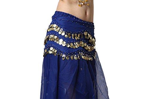 Dance Accessories Lndian Dance Tribal Danse du ventre costume Hip écharpe 3 Rangées 2-Layer Gold Coins Costume Dark Blue